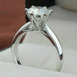 1.01ct Round Forever D/ VVS1 Moissanite Engagement Ring Soli