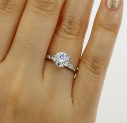 1.25 Ct 14K White Gold Cathedral Round Engagement Wedding Pr