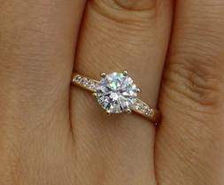 1.25 Ct 14K Yellow Gold Cathedral Round Engagement Wedding P