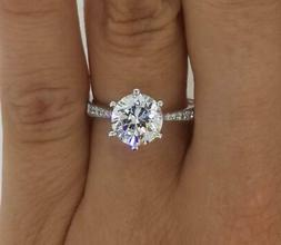 1.25 Ct Pave 6 Prong Round Cut Diamond Engagement Ring I1 H