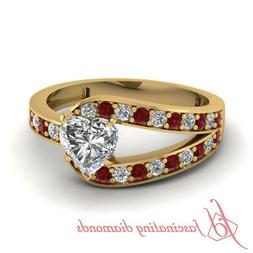 1.25 Ct Split Pave Set Womens Engagement Rings With Heart Sh