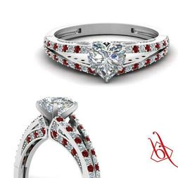 1.35 Ct Ruby And Diamond Split Band Engagement Rings For Wom