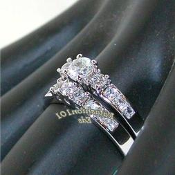 1.35ct Stainless Steel WOMENS WEDDING/ENGAGEMENT 2 RINGS SET