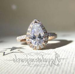 1.5 Ct Pear Moissanite Halo Engagement Ring Charles and Colv