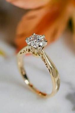 1.85Ct Round Moissanite Solitaire Gorgeous Engagement Ring 1