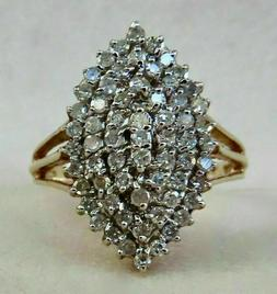 1.94ct Round cut Cluster Diamond Engagement Ring Solid 14K Y
