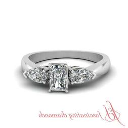 1 Ct 3 Stone Engagement Rings With Radiant Cut And Pear Diam