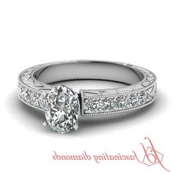1 Ct Oval Shape Natural Diamond Vintage Engagement Rings For