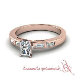 1 Ct Radiant And Baguette Diamond Engagement Ring For Women