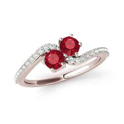 1 Ct Two Stone Ruby-Diamond Wedding/Engagement Ring For Wome