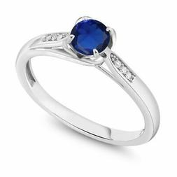 10K White Gold 0.64 Ct Round Blue Simulated Sapphire and Dia