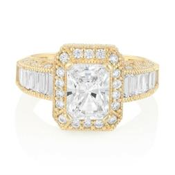 14K Solid White OR Yellow Gold Princess Cut CZ Solitaire Eng