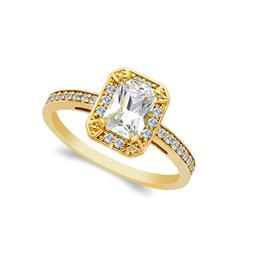 14K Solid Yellow OR White Gold 1 Ct. Emerald Cut CZ Wedding