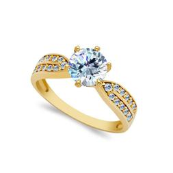 14K Solid Yellow OR White Gold 1.25 Ct. Solitaire CZ Wedding