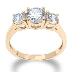14K Solid Yellow OR White Gold 2 Ct. 3 Stone CZ Engagement o