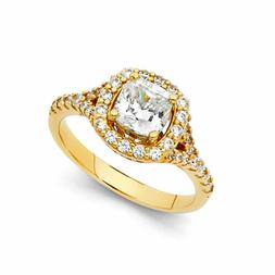 14K Solid Yellow OR White Gold Princess Cut CZ Solitaire Eng