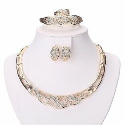 Moochi 18K Gold Plated Crystal Embedded Hollow Chain Necklac