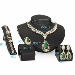 Moochi 18K Gold Plated Green Beads Crystal Chain Necklace Ea
