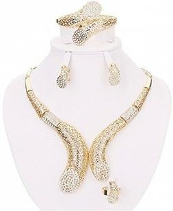 Moochi 18K Gold Plated Hollow Crystal Necklace Earrings Ring
