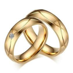 18K Gold Plated Stainless Steel CZ Engagement Band Wedding C