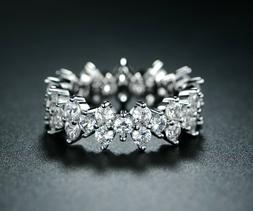 Sevil 18K White Gold Plated Cubic Zirconia Eternity Band Eng