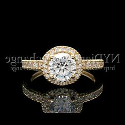 1CT Created Diamond Halo Engagement Ring 14K Yellow Gold Wed
