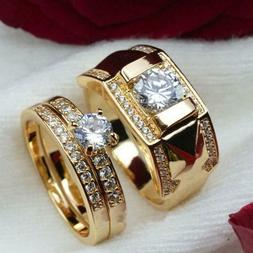 1PC 18K Gold Plated Stainless Steel Wedding Couple Ring Enga