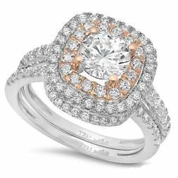2.0 ct Round Cut Halo Bridal Engagement Wedding Ring Band Se