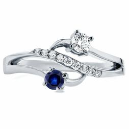2.00 Ct Blue & Round Diamond With 14K White Gold Over Two St