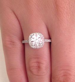 2.00 ct D/SI1 Cushion Halo Round Cut Diamond Engagement Ring