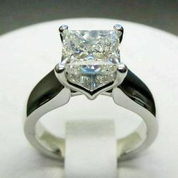 2.00 Ct Princess Cut Solitaire Moissanite Engagement Ring So