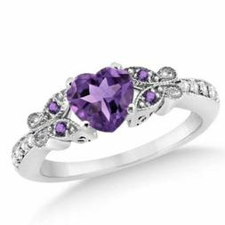 2.00 Ct Purple Heart Cut With Solid 925 Sterling Silver Enga