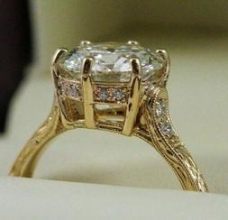 2.10Ct Round Cut Moissanite Wedding Engagement Ring in Solid