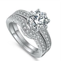 2.28 Ct Womens .925 Sterling Silver Wedding Engagement Rings