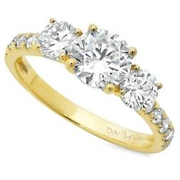 2.2ct Round Cut 3-Stone Engagement Wedding Bridal Ring Solid