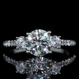2.46 ct Three Stone Created Diamond Engagement Ring 14K Soli