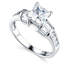 2.50 Ct Princess Baguette Round Cut Engagement Wedding Ring