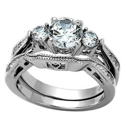 2.50 Ct Round Cut AAA CZ Stainless Steel Wedding Band Ring S
