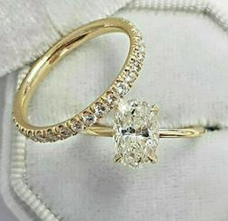 2.51Ct Oval cut Solitaire Diamond Engagement Ring Wedding Ba