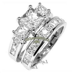 2.58ct PRINCESS CUT STAINLESS STEEL WEDDING/ENGAGEMENT SET R
