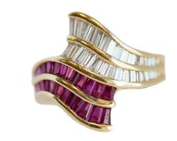 2.5Ct Oval Cut Baguette Ruby & Diamond  Engagement Ring 14k