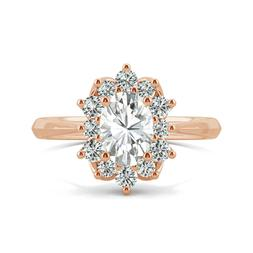 2.70 Ct Oval Cut 14K Solid Rose Gold Halo Solitaire Engageme