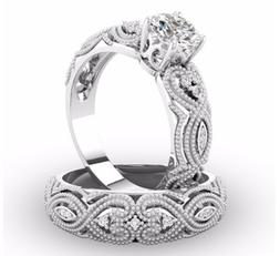 2.75ct Engagement Ring Set Two Rings CZ 9mm Main stone Sizes