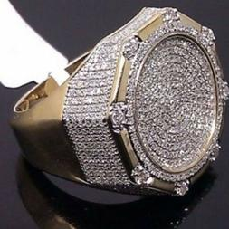 24K Yellow Gold Iced Out BAND Hip Hop Engagement MICROPAVE C