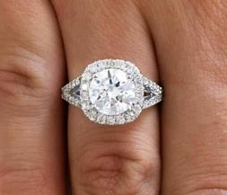3.00 ct D/SI1 Round Cut Diamond Cushion Halo Engagement Ring