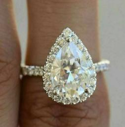 3.27Ct Pear cut Solitaire Diamond Ring Engagement Solid Band