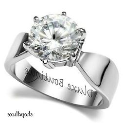 3.35 Ct Round Cut Stainless Steel AAA CZ Engagement Ring Ban