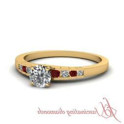 3/4 Ct Round Natural Diamond Womens Engagement Rings Channel