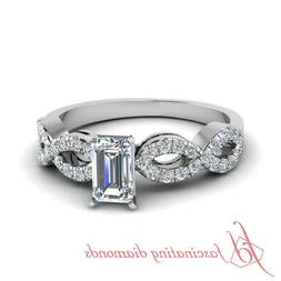 3/4 Ct Twist Engagement Rings For Women With Emerald Cut Dia