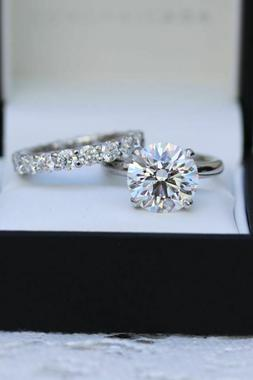 3.Ct VVS1 Round Moissanite Solitaire Engagement Ring Wedding